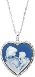 Crystaluxe Mother & Child Heart Cameo Sterling Silver Pendant