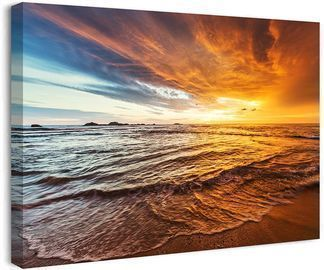 Sunset Ocean Beach Pictures Photo Paintings