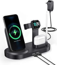 Wireless Charging Station with Dual USB Ports