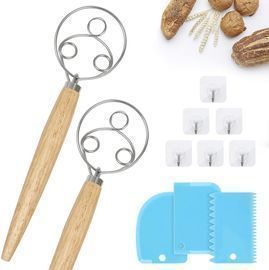 2Pcs Danish Dough Whisk Bread Mixer