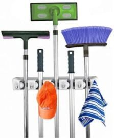 Mop and Broom Holder with 6 Hooks & Holds up to 11 Tools