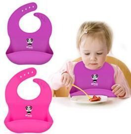 2 Panda Silicone Baby Bibs with Food Catcher Pocket
