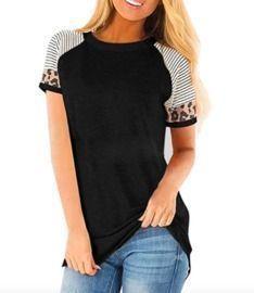 Short Sleeve Leopard Color Block Shirts
