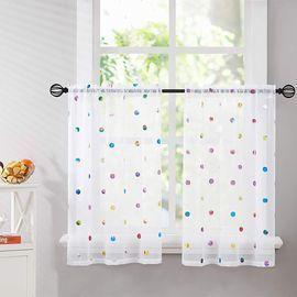 Metallic Polka-Dot Printed Sheer Curtains for Windows