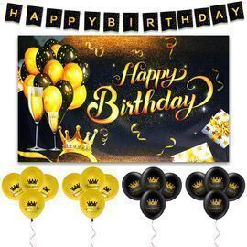 Black and Gold Party Supplies Set