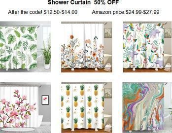 Shower Curtains with 12 Hooks