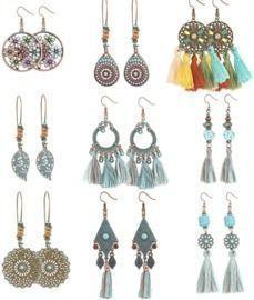 9 Pairs Vintage Bohemian Dangle Earrings