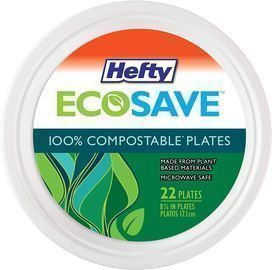 22ct Hefty ECOSAVE 100% Compostable Paper Plates