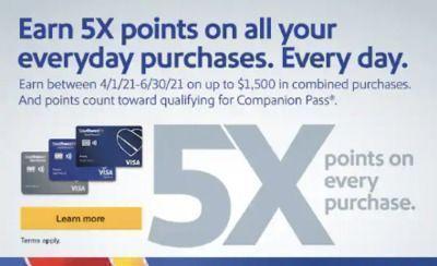 Chase - Earn 5X Total Points w/ Chase Southwest Rapid Rewards YMMV