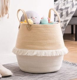 Small Laundry Basket w/ Handles & Decorative Cute Tassels