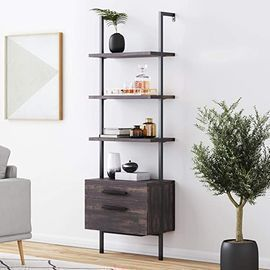 Nathan James Theo Industrial Bookshelf with Wood Drawers, Nutmeg/Black