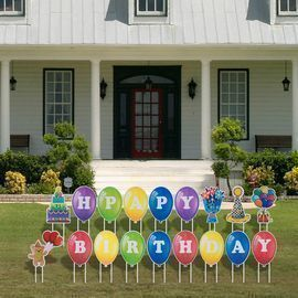 18 Pack Happy Birthday Yard Signs with 36 Stakes