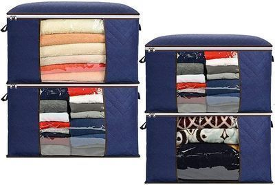 4 Pack 90L Large Capacity Clothes Storage Bags (Gray or Navy)