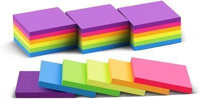 24pk 3x3 Bright Memo Sticky Notes