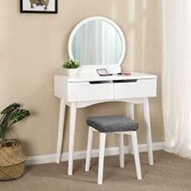 Makeup Dressing Table with Round Mirror & Cushioned Stool