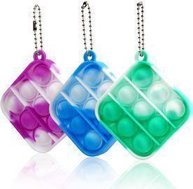 3 Pcs Mini Push Pop Fidget Key Chain