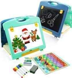 Kids Tabletop Easel - Double Sided Whiteboard & Chalkboard Art Easel