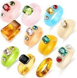 10 Pcs Colorful Resin Rings