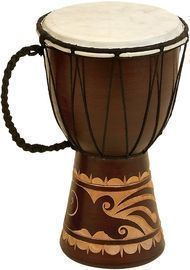 Deco 79 Wood & Leather Djembe Drum