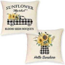 Set of 2 Farmhouse Sunflower Pillow Covers