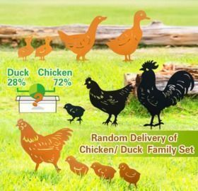 Decorative Garden Stakes - Metal Rooster, Chicken or Duck Set