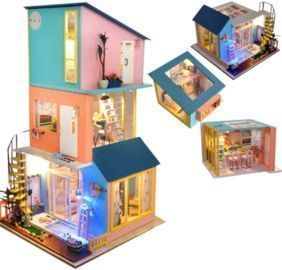 3 pcs Wooden Dollhouse Kit with LED Lights