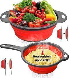 longzon Collapsible Silicone Colanders & Strainer Set, Red