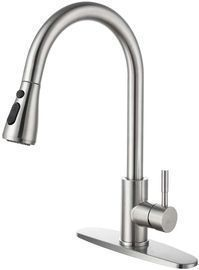 Single Handle Stainless Steel Kitchen Sink Faucet with Pull-Out Sprayer