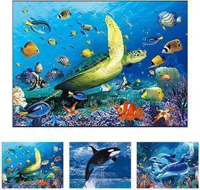Dolphin & Turtle & Whale 3D Poster Wall Art