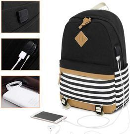 Misognare Canvas Backpack w/ USB Charging