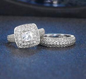 Princess Cut Cubic Zirconia Ring Set