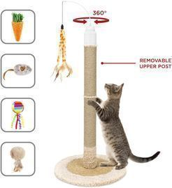 40 Electronic Rotating Cat Scratching Post Toy w/ Adjustable Height