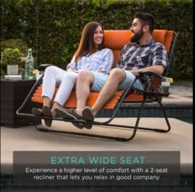 2-Person Double Wide Zero Gravity Chair Lounger w/ Cup Holders &  Headrest