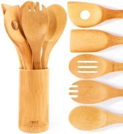 6 Piece Bamboo Utensil Set With Holder