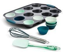 Art & Cook 15pc Cupcake Pan, Silicone Liners & Tools Set