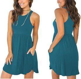 Women's Sleeveless Loose Plain Dress with Pockets