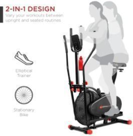 2-in-1 Elliptical Trainer Exercise Bike w/ LCD Screen