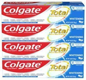 Colgate Total Whitening Toothpaste with Fluoride, 4 pack