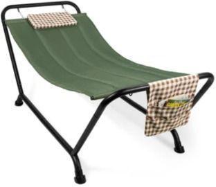 Outdoor Patio Hammock w/ Stand, Pillow & Storage Pockets