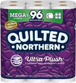 24 Mega Rolls of Quilted Northern Ultra PlushToilet Paper