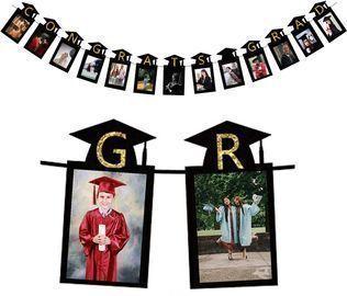 Graduation Decorations 2021 Black Senior Grad Photo Banner
