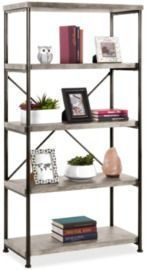 5-Tier Industrial Bookshelf - Gray