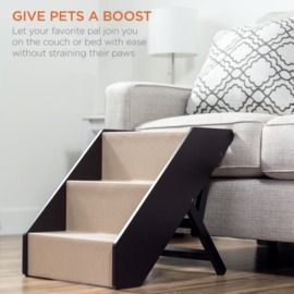 Non-Slip Wide Wooden Carpeted Pet Step Stairs