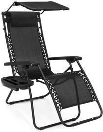 Folding Reclining Lounge Chair w/ Canopy + Side Tray