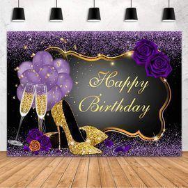 7' x 5' Sweet Purple Happy Birthday Banner