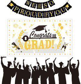 2021 Graduation 40 White Gold Backdrop