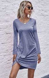 Women's Loose T Shirt Dress w/ Side Twist Knot