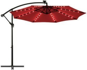 10' Patio Solar LED Offset Umbrella with 40 Lights and Cross Base