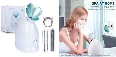 Facial Moisturizing Steamer w/ Blackhead Remover Kit and Hair Band