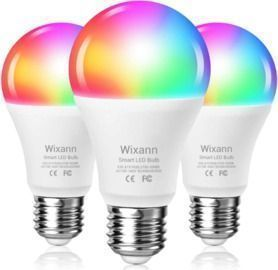 3 Pack Smart Wi-Fi Light Bulb Compatible with Alexa & Google Home Assistant